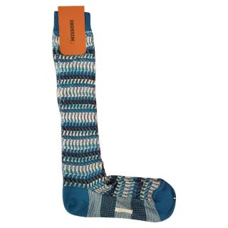 Missoni Blue Cotton Blend Knee Socks