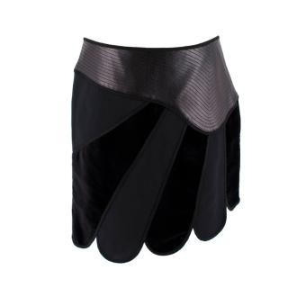 Andrew GN Black Contrast Panelled Scallop Hem Mini Skirt