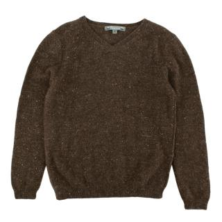 Bonpoint Brown V-Neck Cashmere Knit Jumper