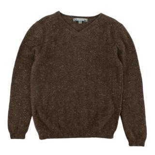 Bonpoint Brown V-Neck Cashmere Knit Jumper