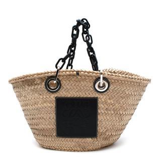 Loewe Logo Natural Straw Basket Bag with Black Chain Handle