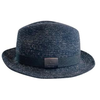 Gucci Black Wool Leather Trimmed Fedora