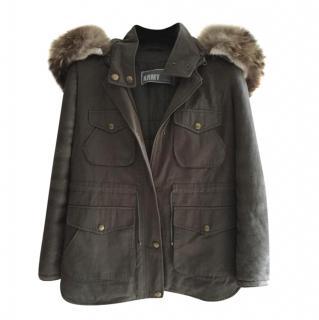 Yves Salomon Army Fur Trimmed Puffer Coat
