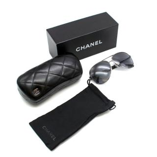 Chanel Silver Metal Aviator Polarized Sunglasses