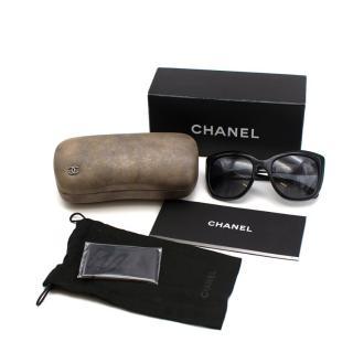 Chanel Black Tweed Print Oversize Sunglasses
