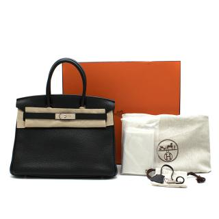 Hermes Birkin 30 in Black Taurillion Clemence Leather PHW