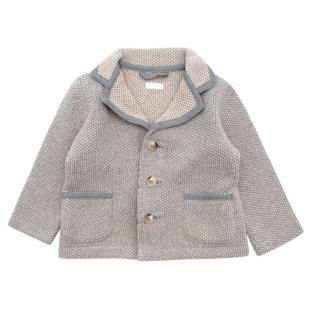 Il Gufo Grey & Cream Wool Knit Jacket