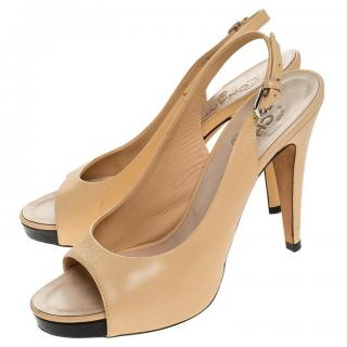 Chanel Beige Leather Two-Tone Slingback Sandals