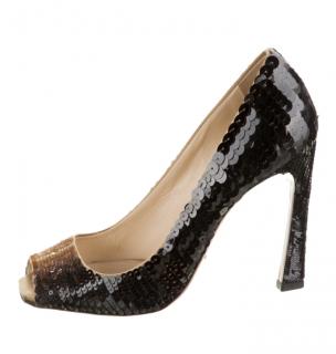 Prada Black/Gold Sequin Peep-Toe Pumps