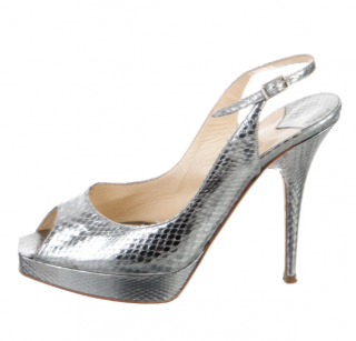 Jimmy Choo Silver Embossed Slingback Sandals