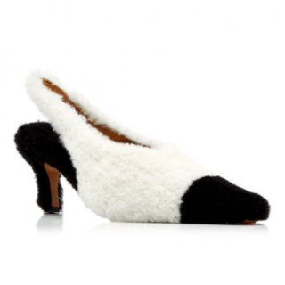 Marni Two-Tone Shearling Pointed Toe Pumps