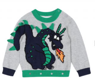 Stella McCartney Grey Dragon Embroidered Jumper