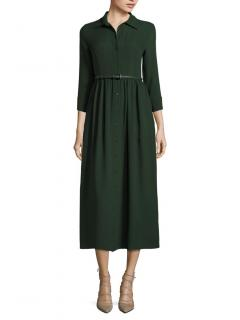 Max Mara Green Woven Silk Shirt Dress