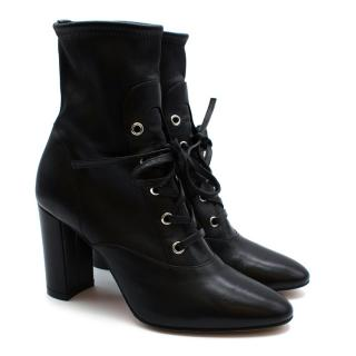 Gianvito Rossi Black Stretch Leather Lace-up Ankle Boots
