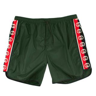 Gucci Green Swim Shorts with Logo Stripes