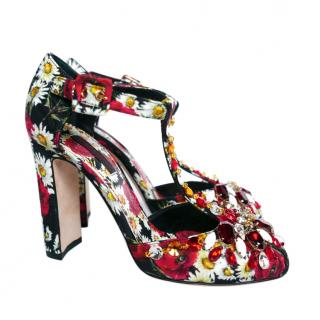 Dolce & Gabbana Red Daisy Print T-Bar Sandals
