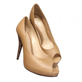 Fendi Beige Peep-Toe Monogram Heel Pumps