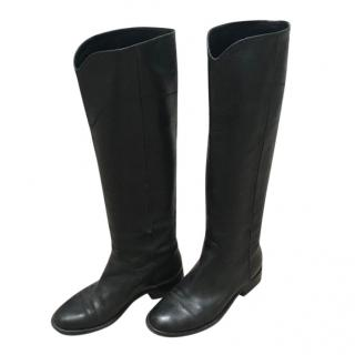 Chanel Black Riding Boots
