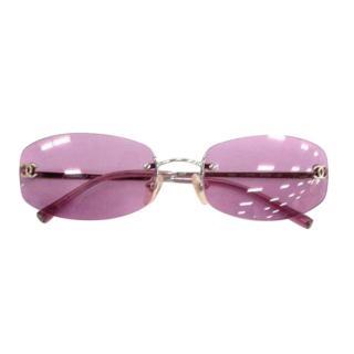 Chanel Pink Vintage Rectangular Sunglasses