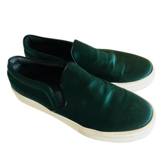 Celine Emerald Green Velvet Slip On Sneakers