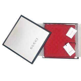 Gucci Red Jacquard Cashmere Supreme Scarf