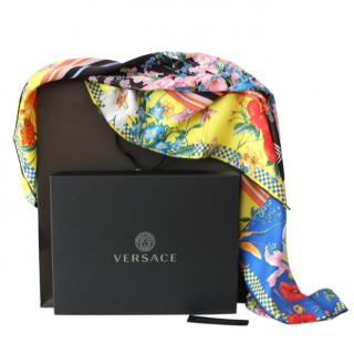 Versace Multicoloured Silk Floral Print Scarf