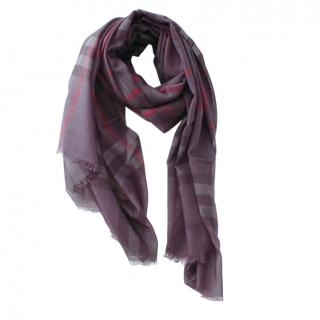 Burberry Wool & Silk Anthracite Plaid Scarf