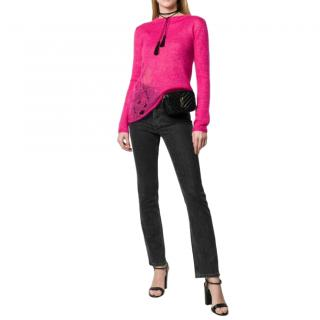 Saint Laurent Pink Mohair Blend Distressed Jumper