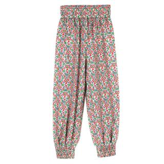 Tory Burch Silk Floral Tapered Trousers
