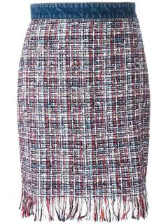 MSGM Tweed And Denim Skirt
