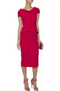 Roland Mouret Raspberry Crepe Balvern Dress