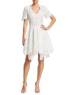 Jonathan Simkhai White Lace Asymmetric Mini Dress