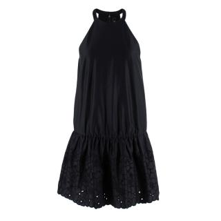 Thakoon Black Cotton Satin Dress with Embroidered Skirt