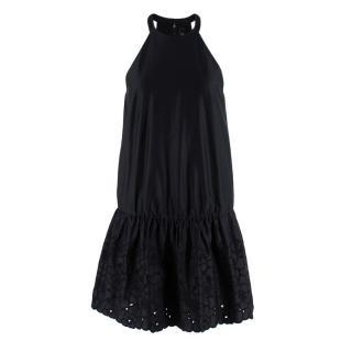 Thakoon Black Cotton Satin Dress with Embroidered Skirt