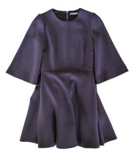Dolce & Gabbana Wool Crepe Purple Dress