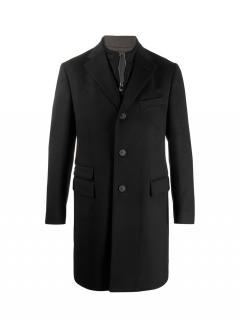 Corneliani Single Breasted Navy Virgin Wool Coat