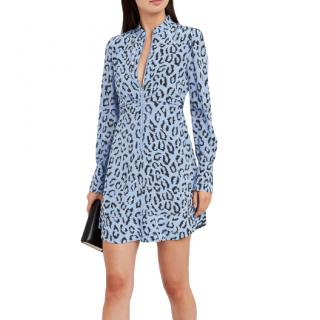 A.L.C. Marcella Blue Animal Print Zip Front Silk Mini Dress