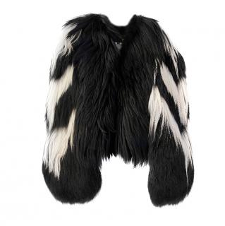Just Cavalli Black/White Goat Hair Jacket