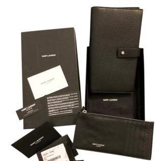 Saint Laurent Grained Leather Wallet & Card Holder
