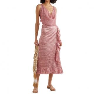 Cloe Cassandro Dusty Pink Print Silk Wrap Skirt and Top
