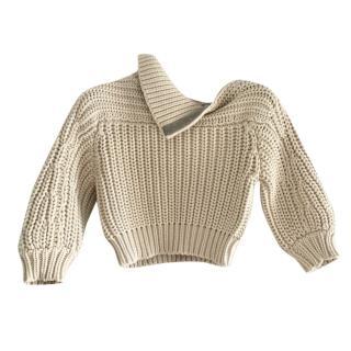 Brunello Cucinelli Vanilla Chunky Knit Crop Jumper