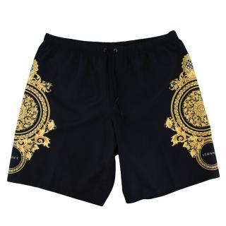 Versace Baroque Logo Black Swim Shorts