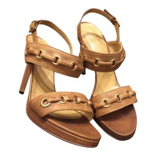 Valentino Garavani Tan Leather Lace Detail Sandals