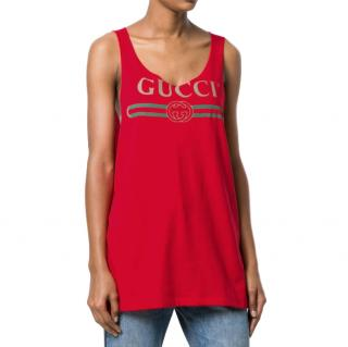 Gucci Red Vintage Logo Print Tank Top
