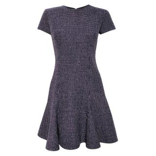 Christian Dior Houndstooth Cap-Sleeve Wool Dress