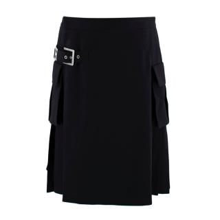 Versus Versace Wool Pleated Buckle Detail Kilt
