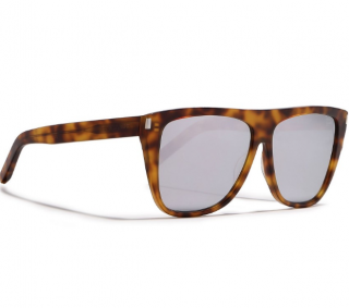 Saint Laurent Square Aviator Tortoiseshell Sunglasses