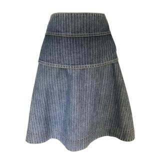 See by Chloe Denim Tiered Striped Skirt