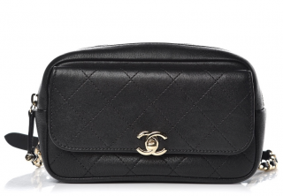 Chanel Black Quilted Leather Belt Bag