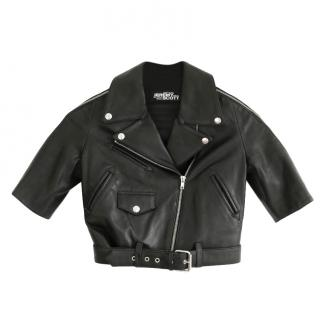 Jeremy Scott Cropped Leather Biker Jacket